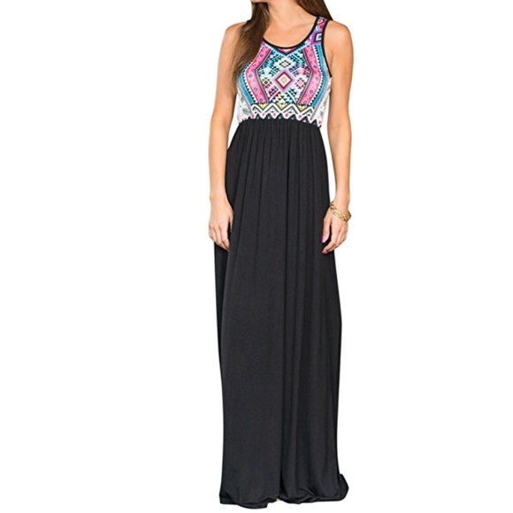30b05e37f5a Chevron Color Block Print Boho Maxi Dress